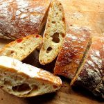 A sliced loaf of Italian ciabatta