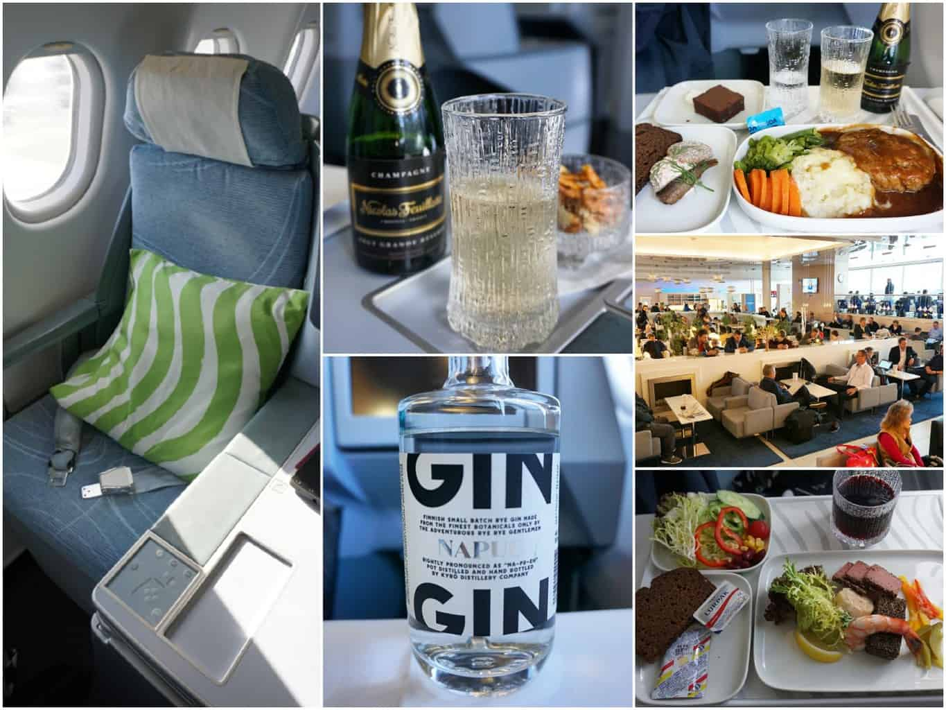 image collage from on board a Finnair flight to China