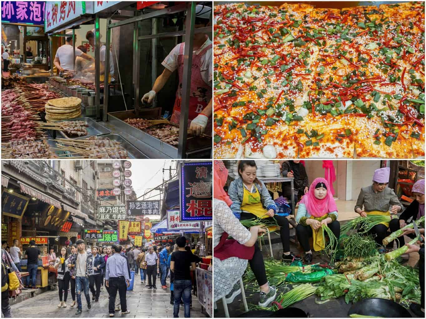 image collage of scenes from Xi'an's Muslim quarter in China