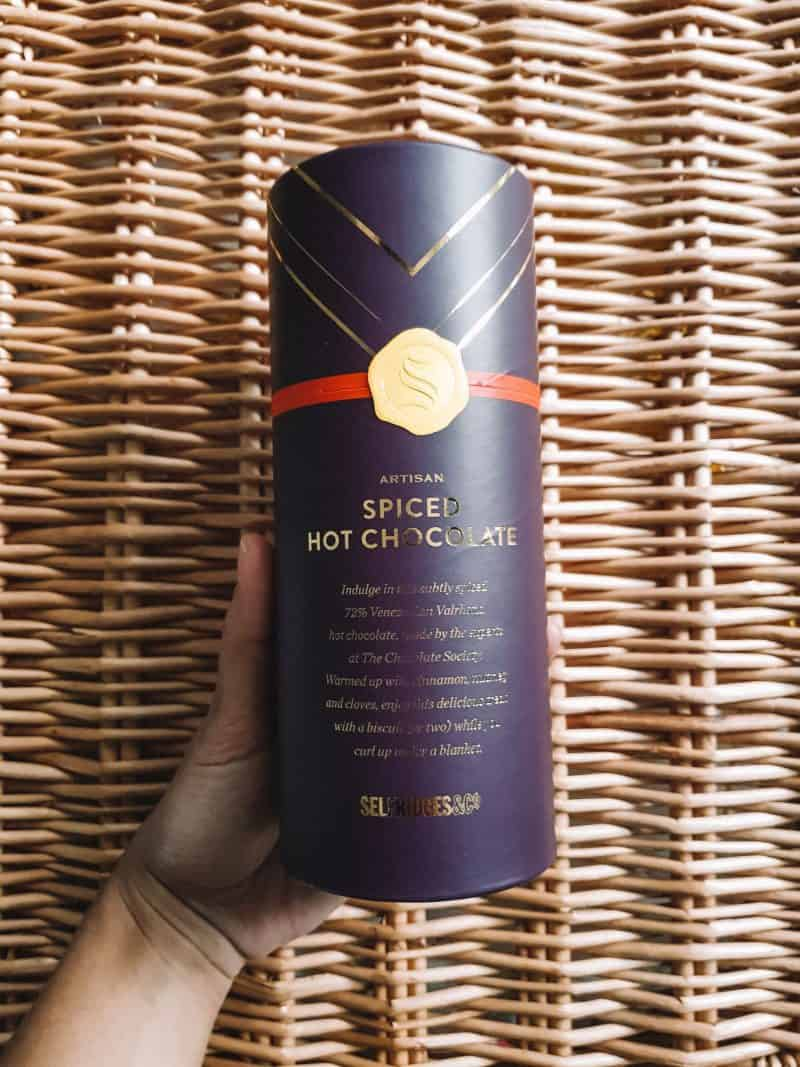 Spiced hot chocolate, Selfridges food gift Christmas hampers