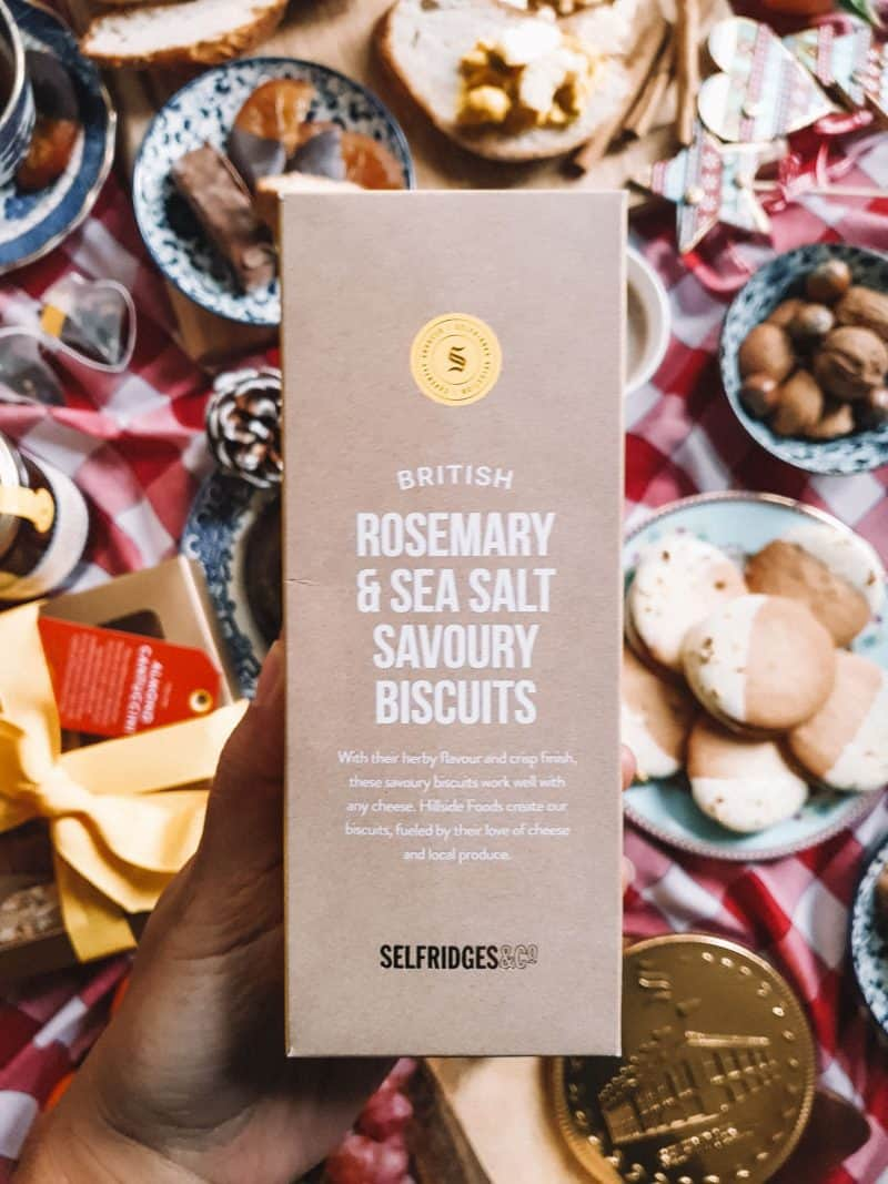 Rosemary and salt savoury biscuits, Selfridges food gift Christmas hampers