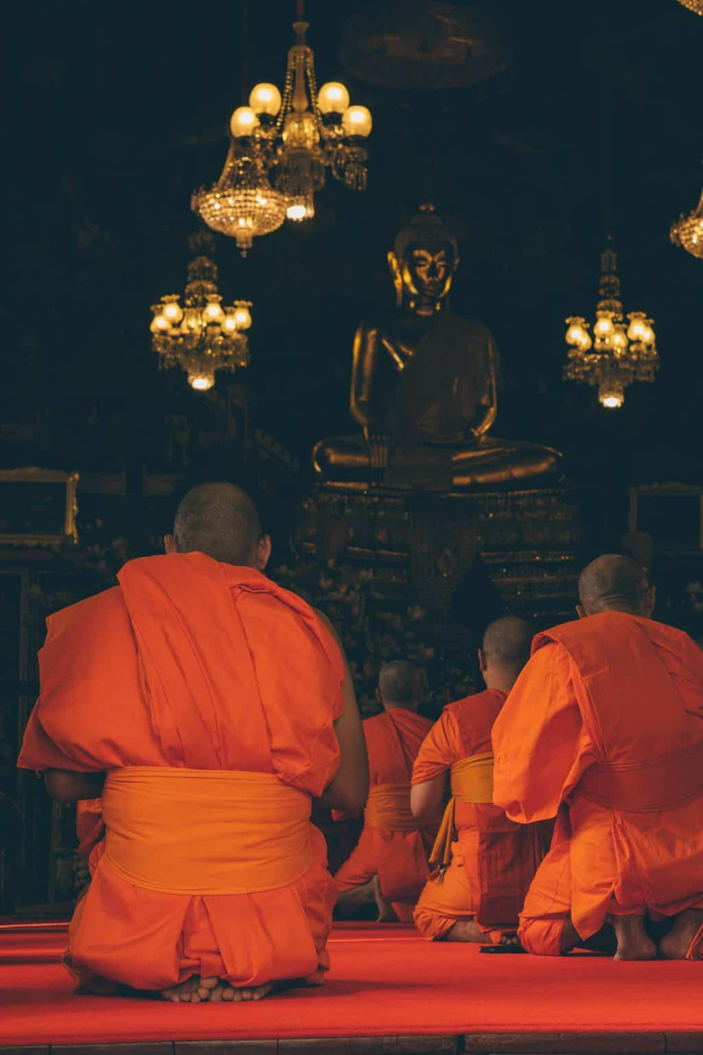 a group of kneeling monks in orange robes facing a Buddha statue inside a temple, planning a trip to thailand