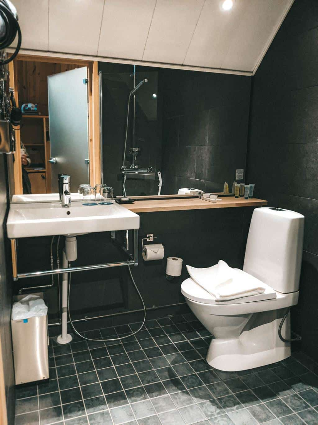 A stylist bathroom in the aurora cabin Finnish Lapland, Lapland destinations, Lapland Finland, Inghams