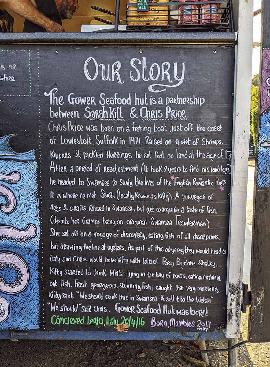 A blackboard titled 'Our Story' with lots of chalk writing underneath