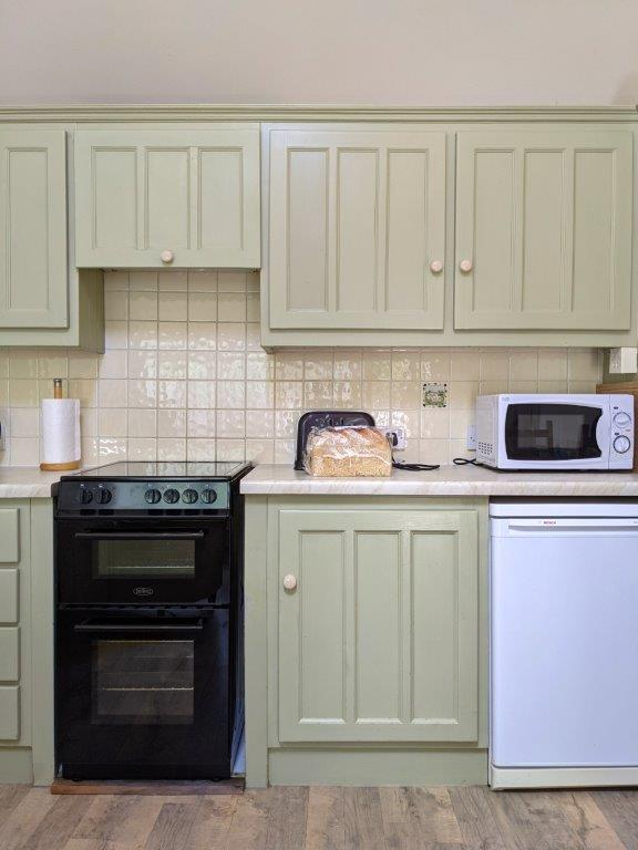 Sage green painted kitchen units with an oven, fridge and microwave